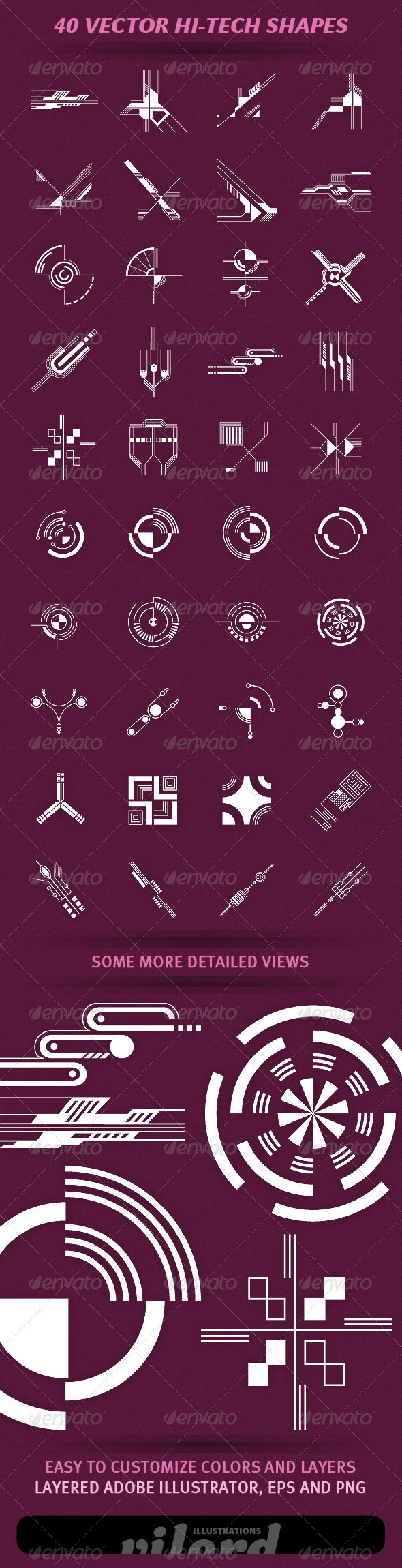 GraphicRiver 40 Vector Hi-Tech Shapes 1923342