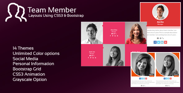 JAG Bootstrap Responsive Team Members (Layouts) Download