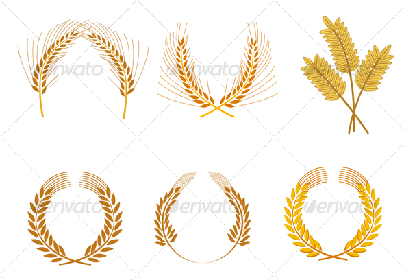 Set of cereal wreaths - Decorative Vectors