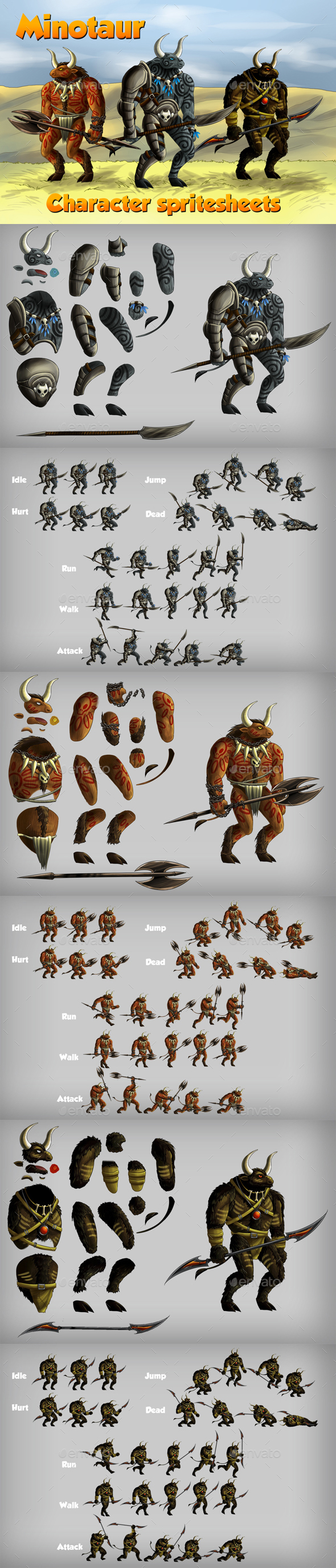 2D Game Minotaur Character Spritesheet (Sprites)