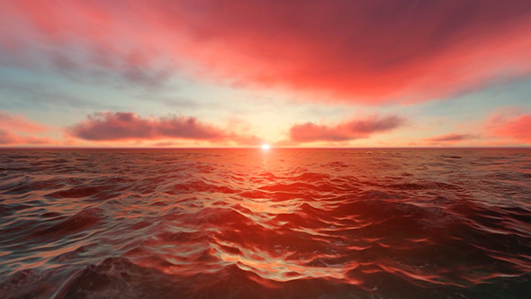 VideoHive Red Sunset Over Ocean 19617606