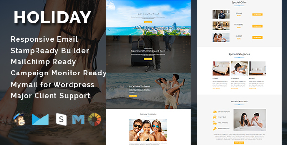 HOLIDAY - Responsive Email Template With Stamp Ready Builder Access
