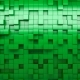 3D Rendering Green Extruded Cubes