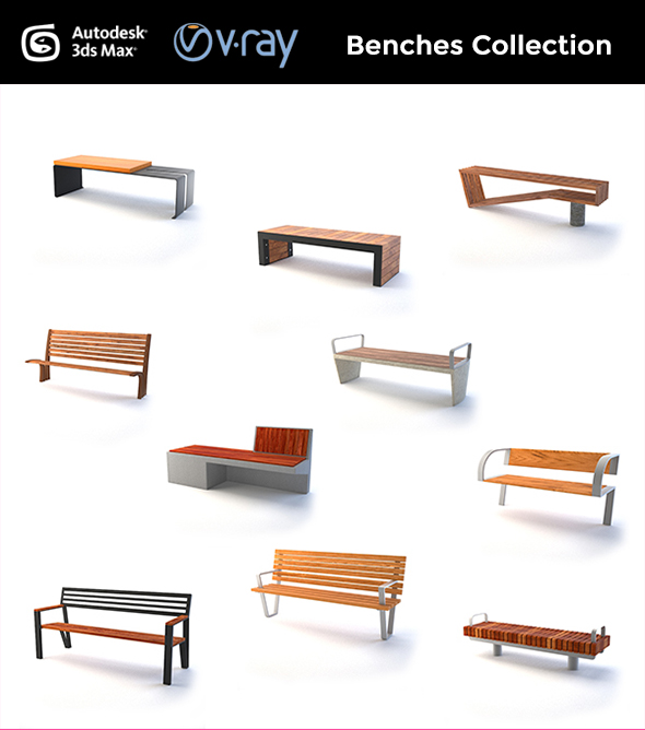 Street Furniture - Benches - 3DOcean Item for Sale