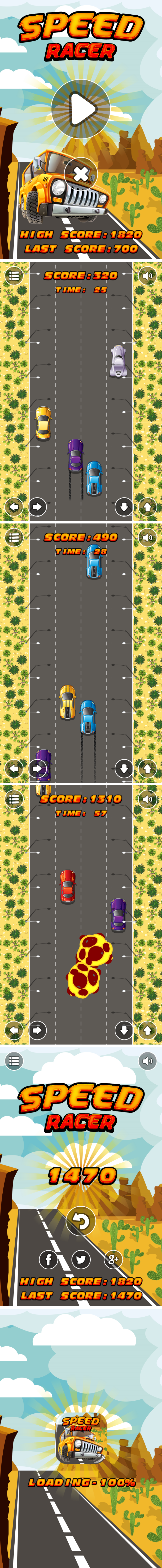 Speed Racer - HTML5 Game + Android + AdMob (Construct 3 | Construct 2 | Capx) - 3