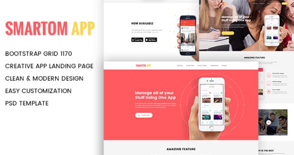 SmartomApp - App Landing PSD Template