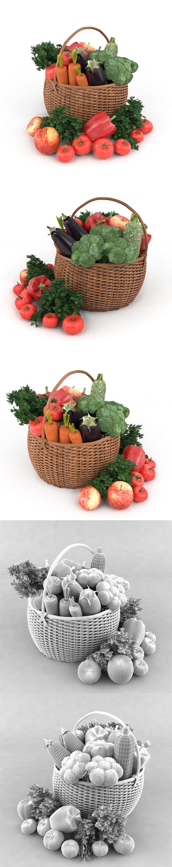 Vegetables in basket - 3DOcean Item for Sale