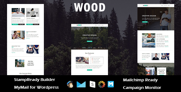 Wood – Multipurpose Responsive E-mail Template with Stampready Builder Access (E-mail Templates)