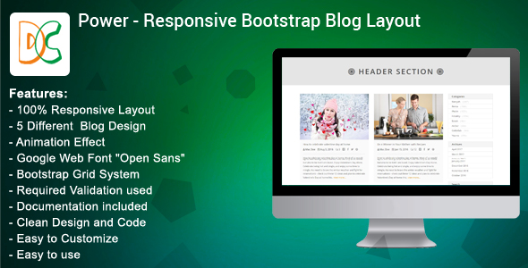 CodeCanyon Power Bootstrap Blog Layout Design 19601480