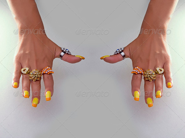 Hand with big rings - Stock Photo - Images