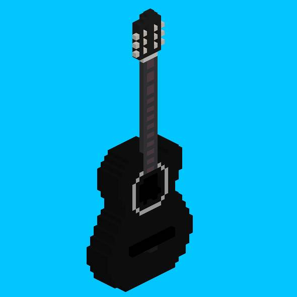 3DOcean Voxel Black Acoustic Guitar 19626416