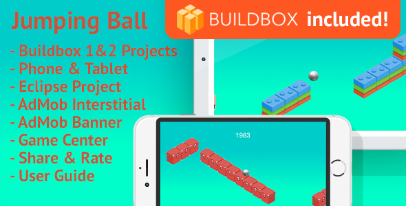 Jumping Ball: Android, BuildBox Included, Easy Reskin, AdMob Interstitial & Banner Ads (Games) Download