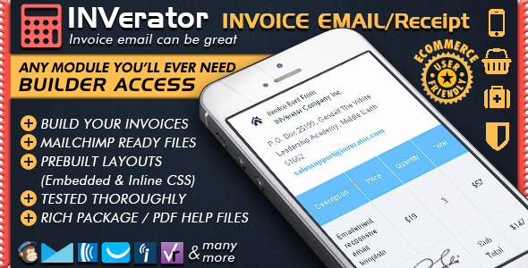Invoice Template & Receipt / Ecommerce Email Marketing Online Editor + Mailchimp Newsletter Ready