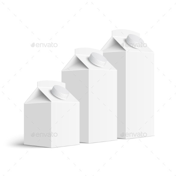 Set of Juice and Milk Blank White Carton Boxes