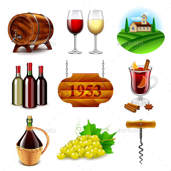 Wine and Winemaking Icons Vector Set