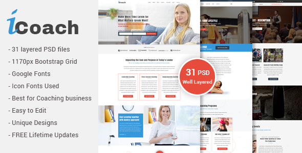 iCoach – For Coaches, Speakers, Fitness Trainers &amp Entrepreneurs PSD Template (Organization)
