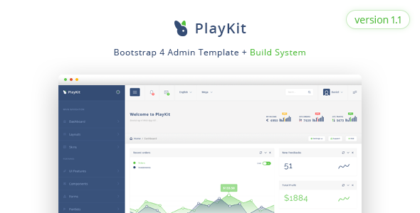 PlayKit - Responsive Bootstrap 4 Admin Template + Build System