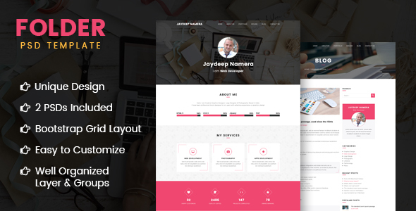 Folder -  Freelancer One Page Portfolio & Resume PSD Template