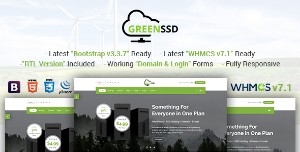 Download GREENSSD | Multipurpose Technology, Hosting Business with WHMCS Template
