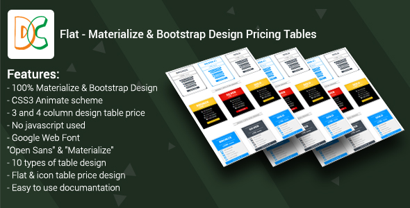Flat - Materialize & Bootstrap Design Pricing Tables - CodeCanyon Item for Sale