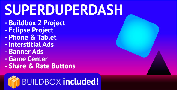 SuperDuperDash: Android, Buildbox Included, Easy Reskin, AdMob Interstitial & Banner Ads (Games) Download