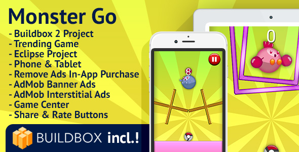 Monster Go: Android, Buildbox Included, Easy Reskin, AdMob Interstitial & Banner Ads, Remove Ads (Games) Download