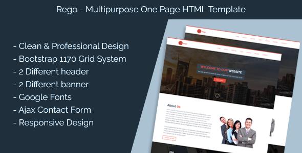 Rego- Multi Purpose Single Page HTML Template (Corporate) images