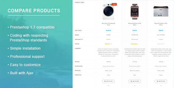 Prestashop 1.7 Compare Products