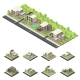 Isometric Suburban Buildings Composition