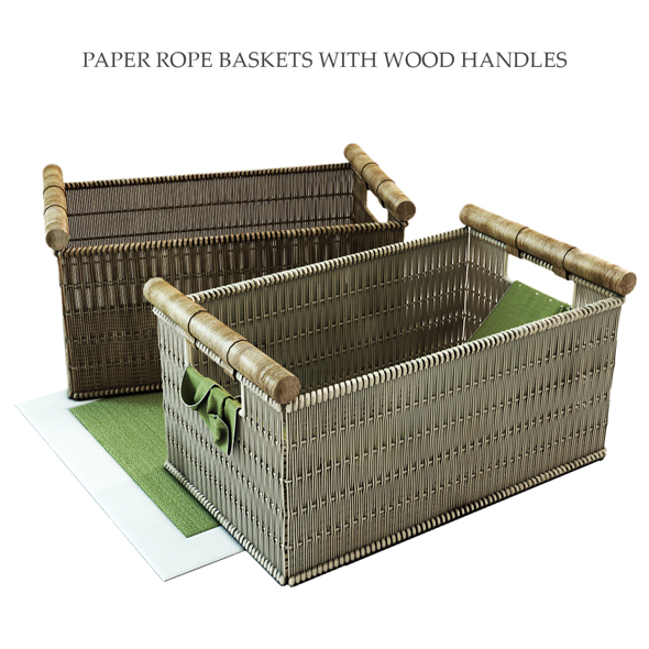 3DOcean PAPER ROPE BASKETS WITH WOOD HANDLES 19634119