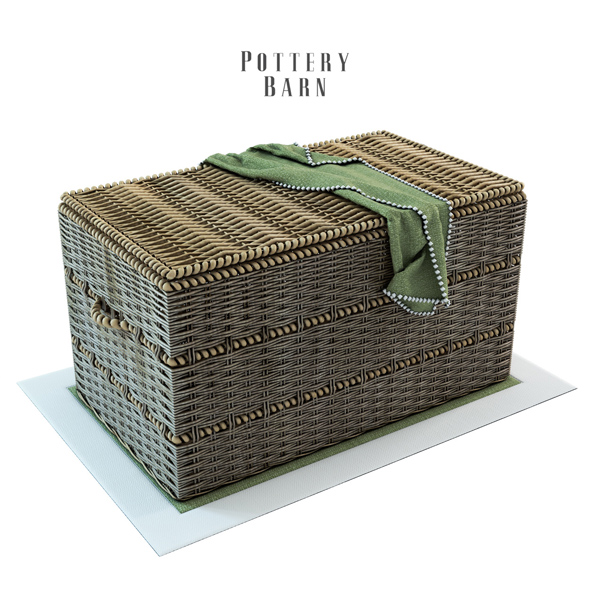 3DOcean Pottery Barn Woven Trunk with Rope Handles 19634828