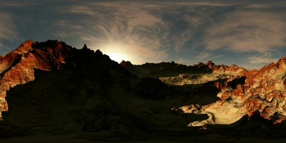 VideoHive VR 360 Panorama of Mountains at Sunset 19636923