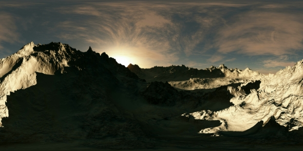 VideoHive VR 360 Panorama of Mountains at Sunset 19637283
