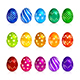 Set of Brightly Colored Easter Eggs