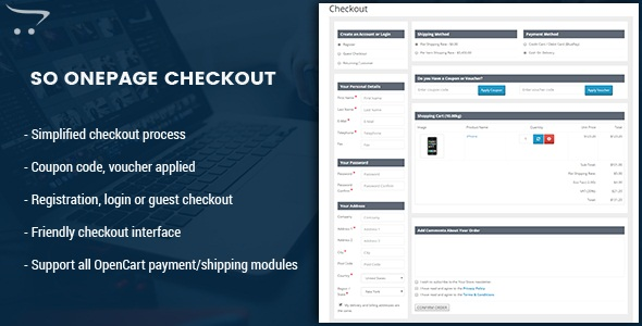 OnePage Checkout - Creative One Page Checkout OpenCart Module