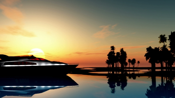 VideoHive Yacht Near Palms Island 19637780