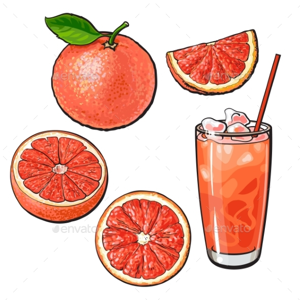 Whole, Half, Quarter Grapefruit and Glass of Juice