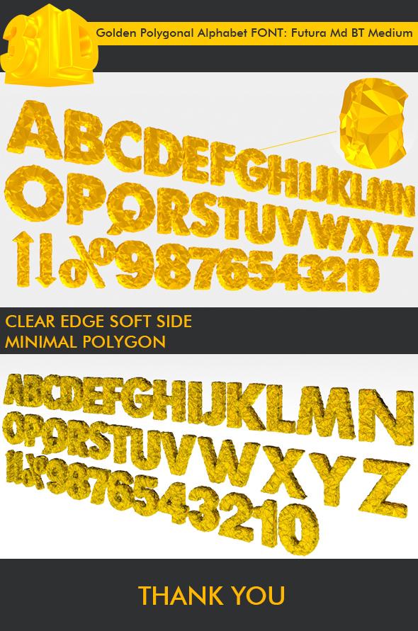 3DOcean 3D Golden Polygonal Alphabet 39 PCS 19638314