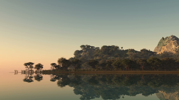 VideoHive Sunset and Island with Forest at Ocean 19638407
