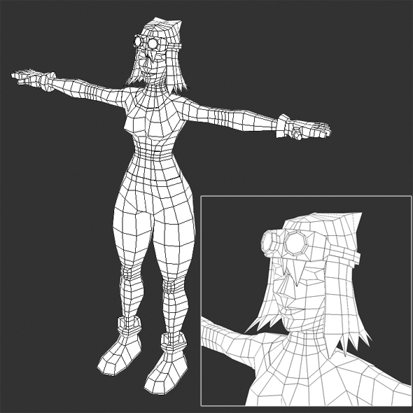 3DOcean Low Poly Female Video Game Model 19638817