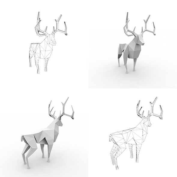 3D Low-poly mesh Deer (Rigged) - 3DOcean Item for Sale