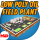 Low Poly Oil Field Plant with Oil Pumps