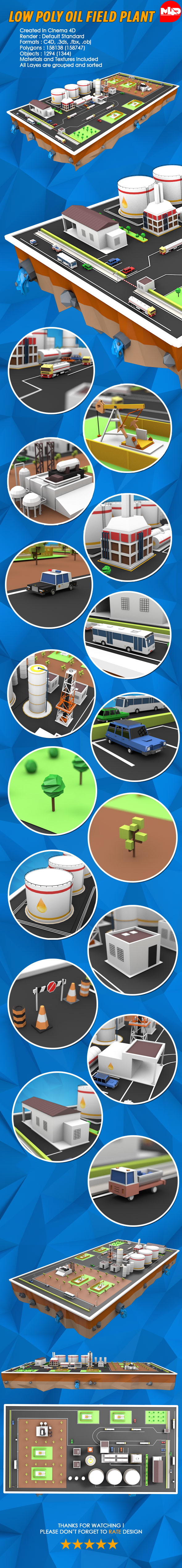 3DOcean Low Poly Oil Field Plant with Oil Pumps 19639576