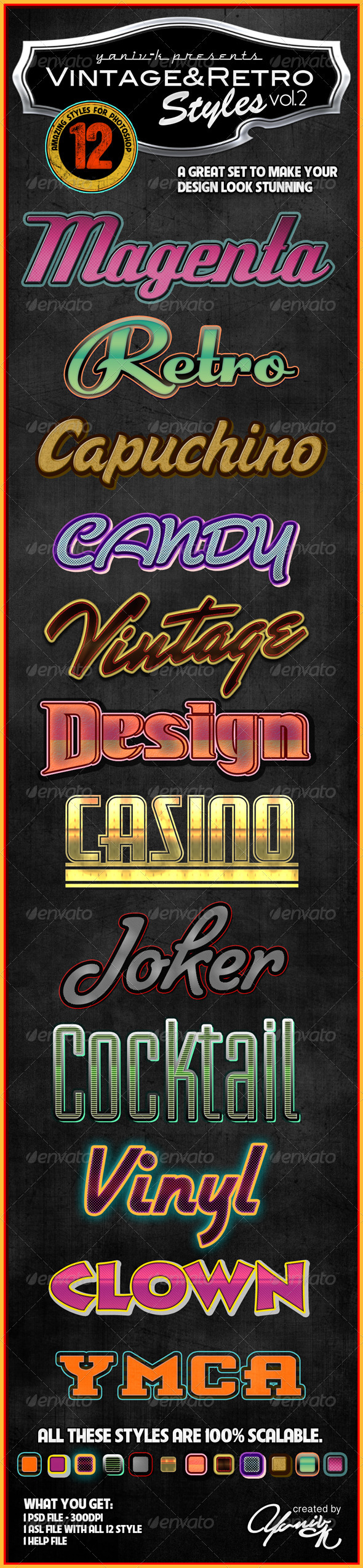 GraphicRiver Vintage Retro Photoshop Styles Vol.2 1925402