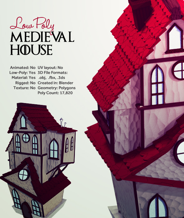 Low Poly Medieval House - 3DOcean Item for Sale