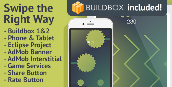 Swipe the Right Way: Android, Buildbox Included, Easy Reskin, AdMob Banner & Interstitial - CodeCanyon Item for Sale