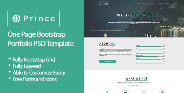 Prince - One Page Bootstrap Portfolio PSD Template