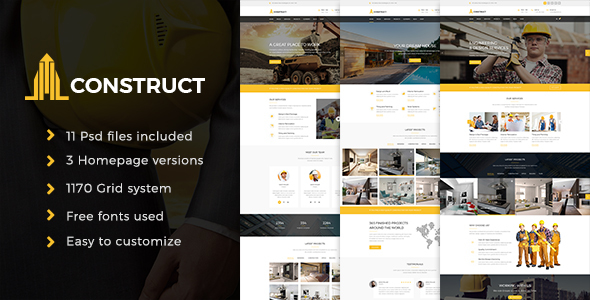 Construction - Construction Company PSD Template