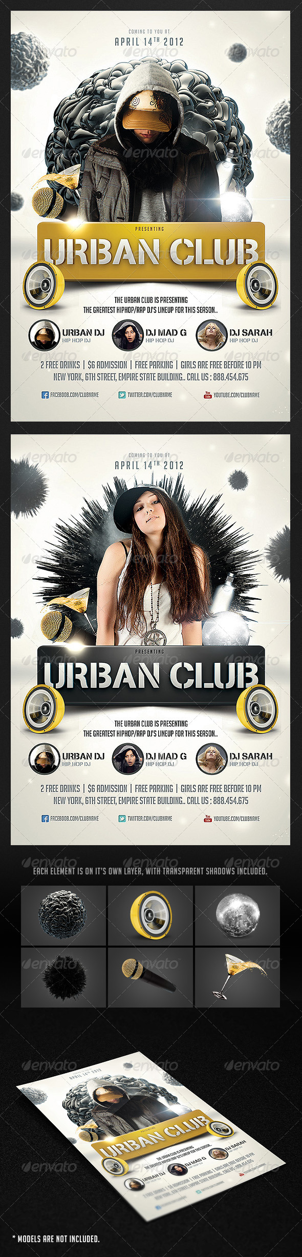 Graphic River Urban Club Flyer Print Templates -  Flyers  Events  Clubs & Parties 1871535