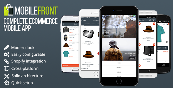 MobileFront eCommerce Mobile App Template w/ Multi-Platform Integration   Shopify included - CodeCanyon Item for Sale